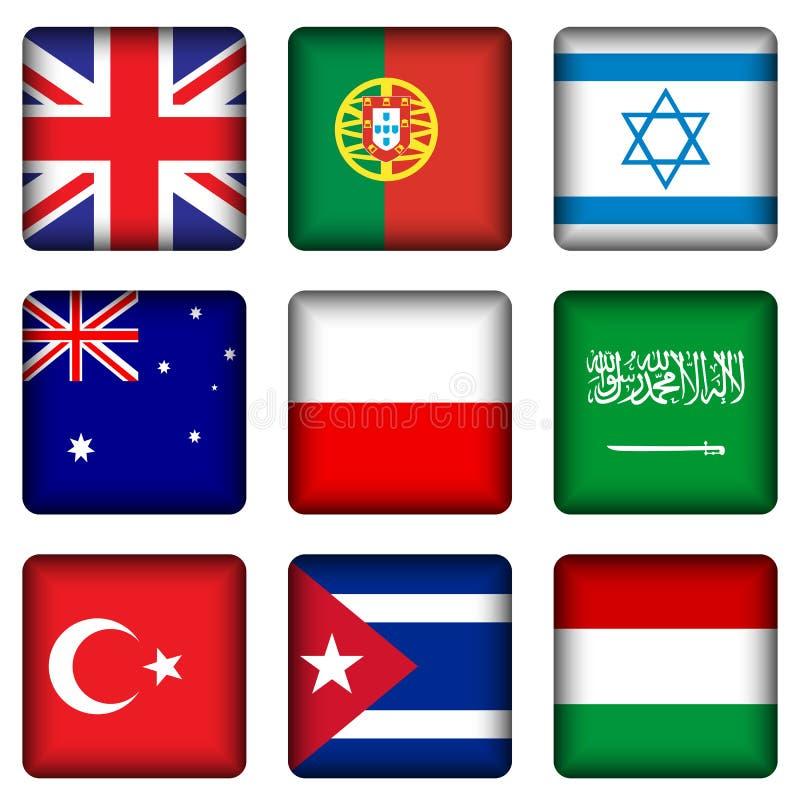 4 кнопки flag национальный квадрат иллюстрация вектора