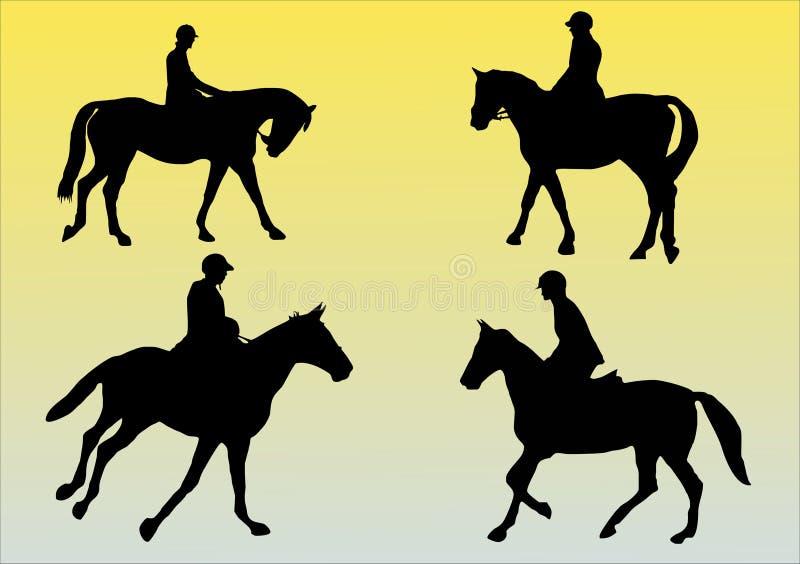 4 лошади иллюстрация вектора