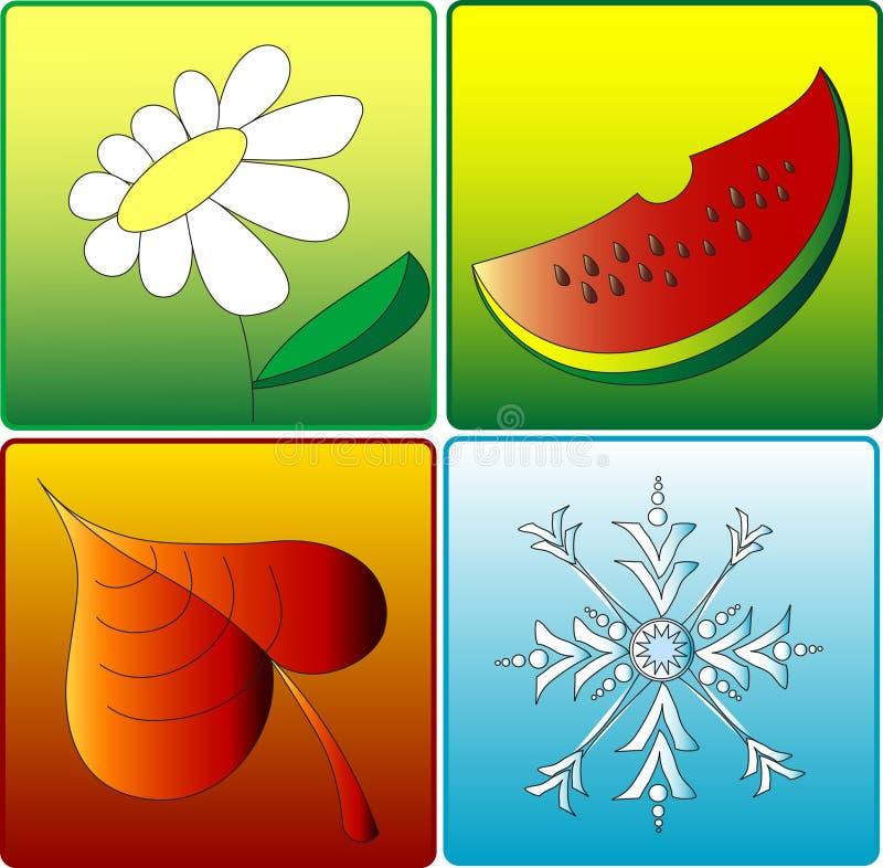 4 сезона икон иллюстрация вектора