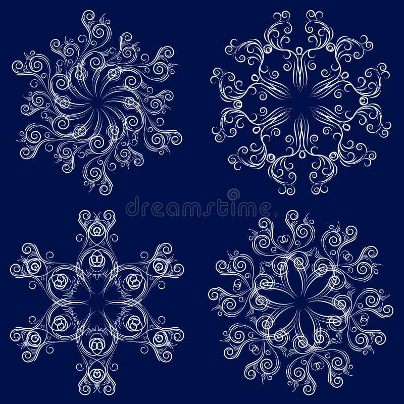 4 установленных снежинки бесплатная иллюстрация
