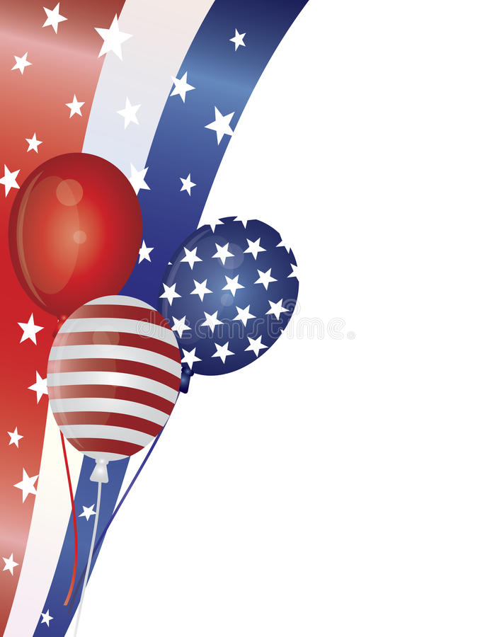 4-ые воздушные шары граничат иллюстрацию июль бесплатная иллюстрация