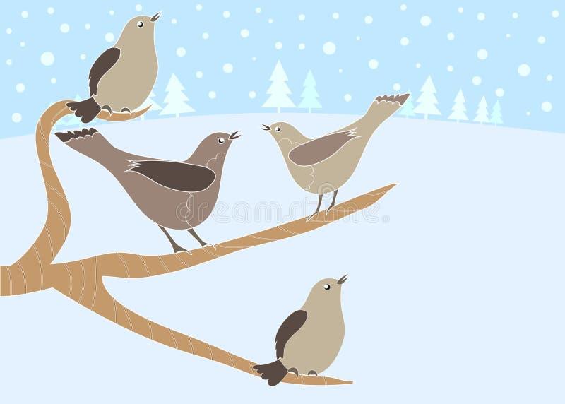 4 12 fåglar som kallar juldagar royaltyfri illustrationer