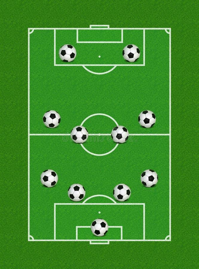 4-4-2 De Vorming Van Het Voetbal Stock Fotografie