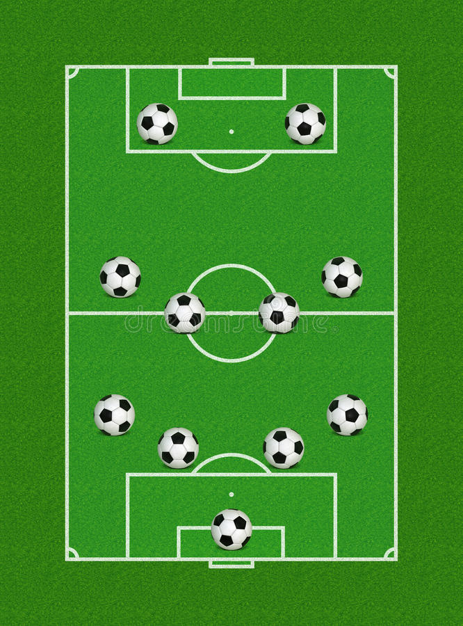 4-4-2 Formación Del Fútbol Fotografía de archivo
