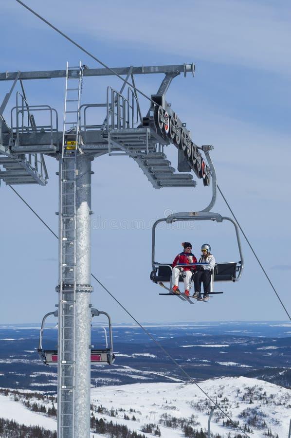 4 -4-seater chairlift σκι στοκ εικόνες