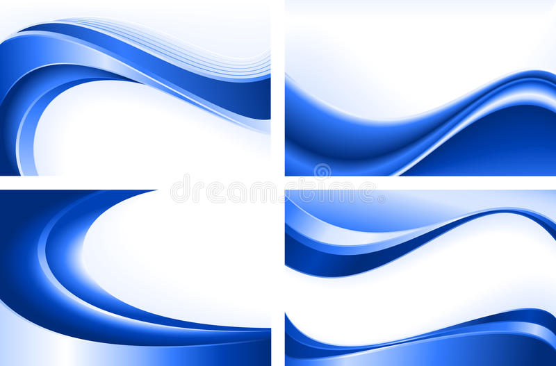 4 abstract blue wave backgrounds vector illustration