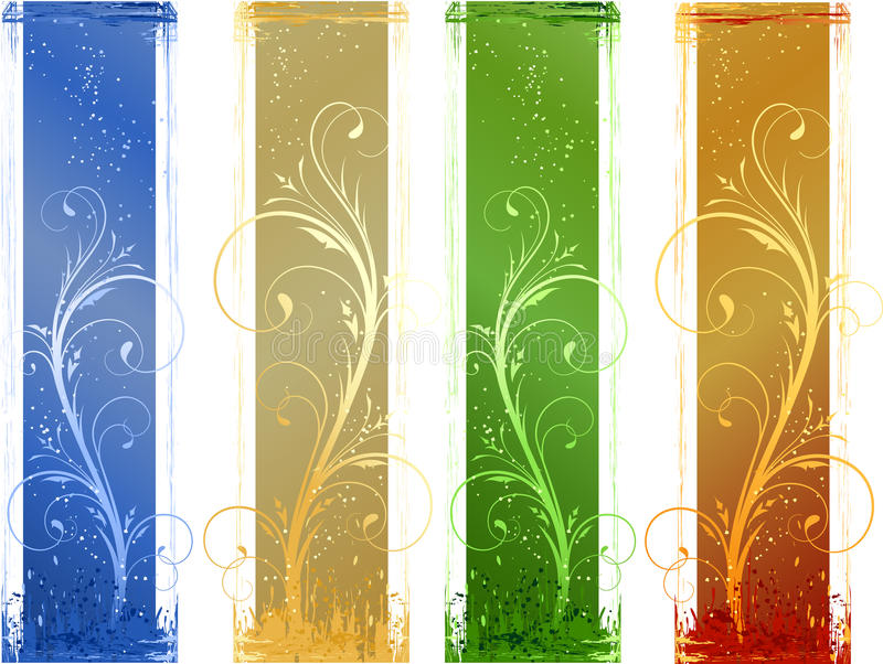 4 Abstract grunge banners with floral design eleme royalty free illustration