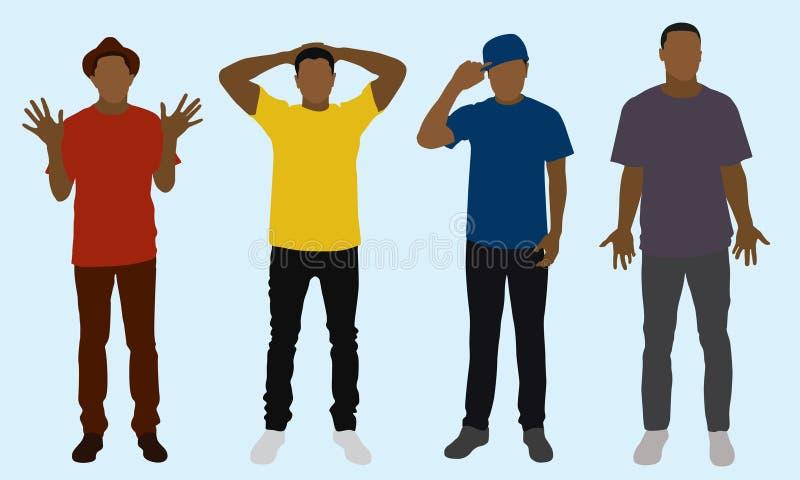 4 adolescentes em calças de brim magros ilustração royalty free