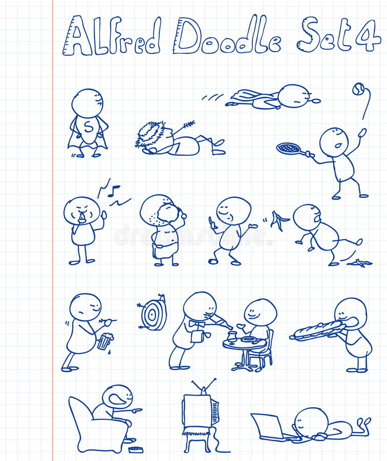 4 Alfred doodle set ilustracji