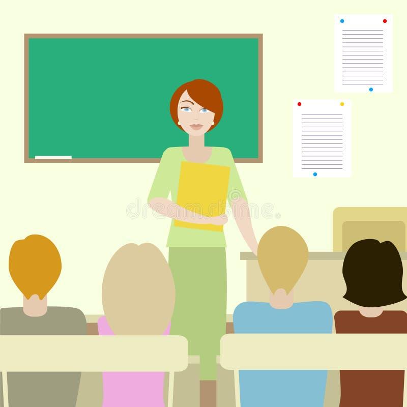 4 allievi che ascoltano un insegnante illustrazione di stock