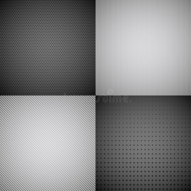 4 antecedentes de la textura del metal. ilustración del vector