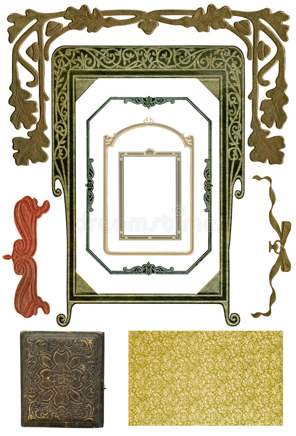 4 antika designelement royaltyfri bild