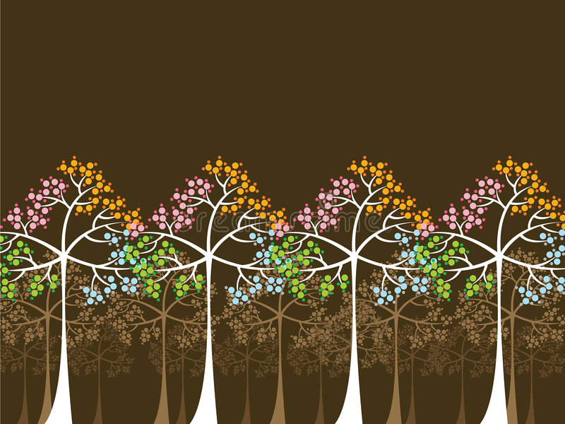 4 arbres de saisons sur le brun illustration libre de droits