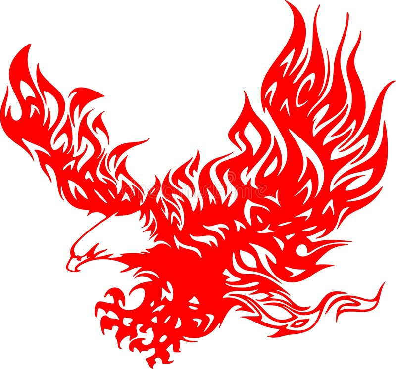 4 atacking的老鹰火焰 皇族释放例证