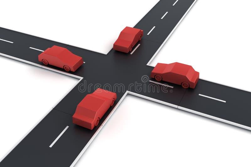 4 auto's bij een kruising royalty-vrije illustratie