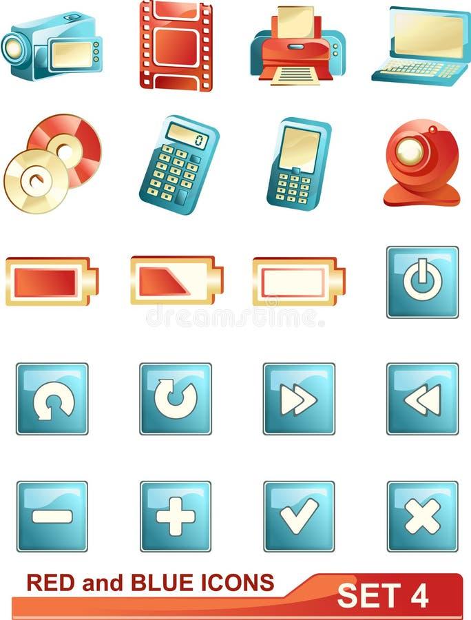 4 błękitny ikon czerwieni set zdjęcia stock