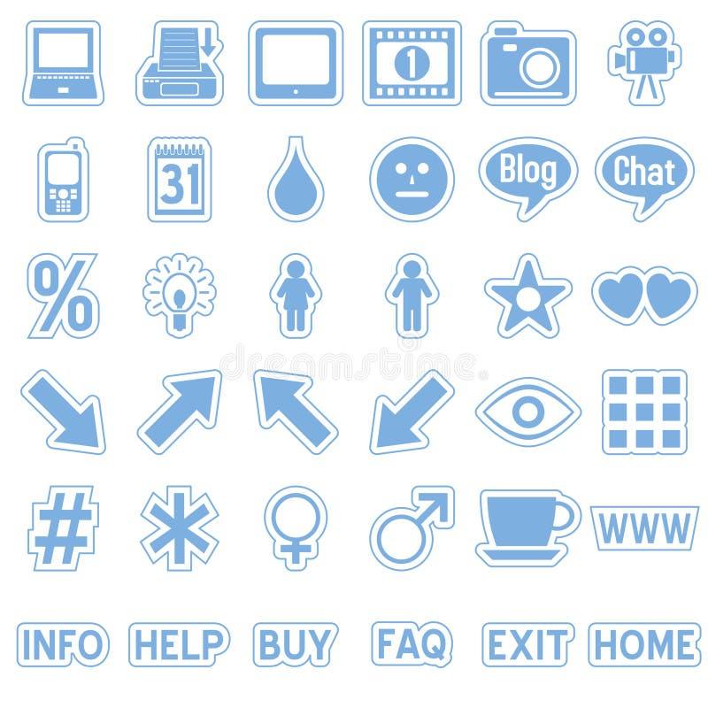 4 błękitny ikon majcherów sieć royalty ilustracja