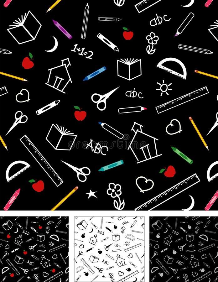 4 back backgrounds school seamless tiles to иллюстрация штока