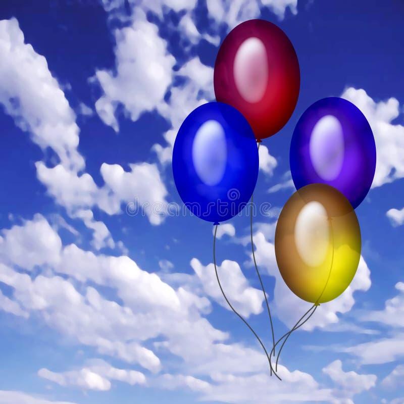 4 Baloons dans le ciel illustration de vecteur
