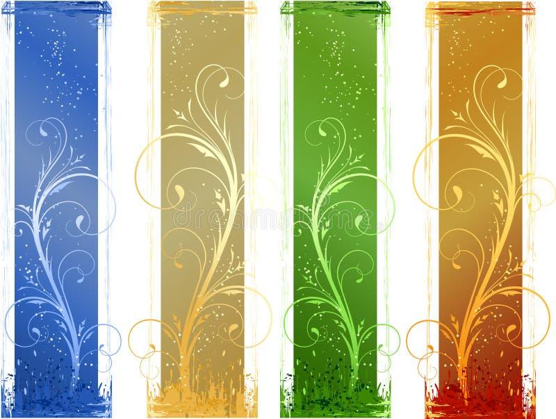 4 bandeiras abstratas do grunge com eleme do projeto floral ilustração royalty free
