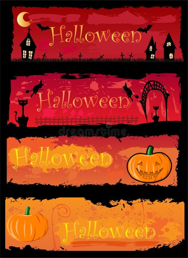 4 bandiere di Halloween royalty illustrazione gratis