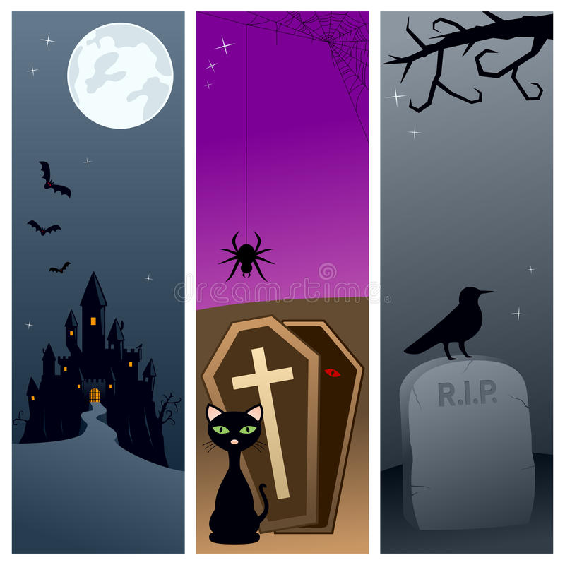 4 baner halloween stock illustrationer