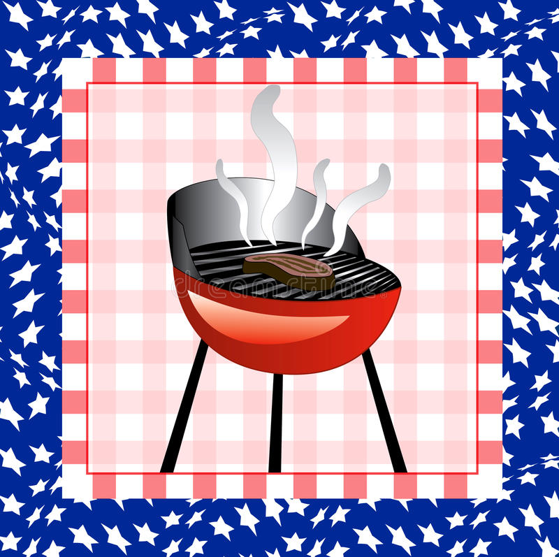4 BBQ van juli Achtergrond vector illustratie