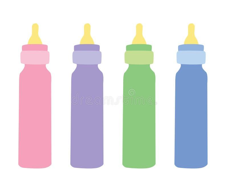4 behandla som ett barn flaskor vektor illustrationer