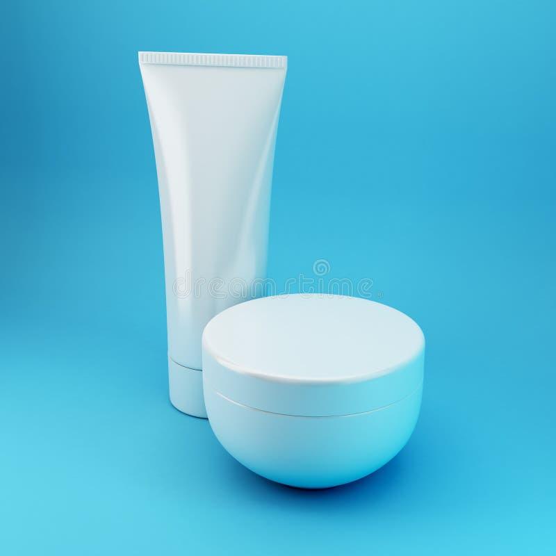 4 blåa kosmetiska produkter royaltyfri foto