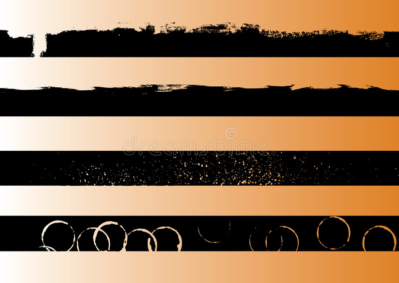 4 Black grunge artistic strips 1 stock illustration