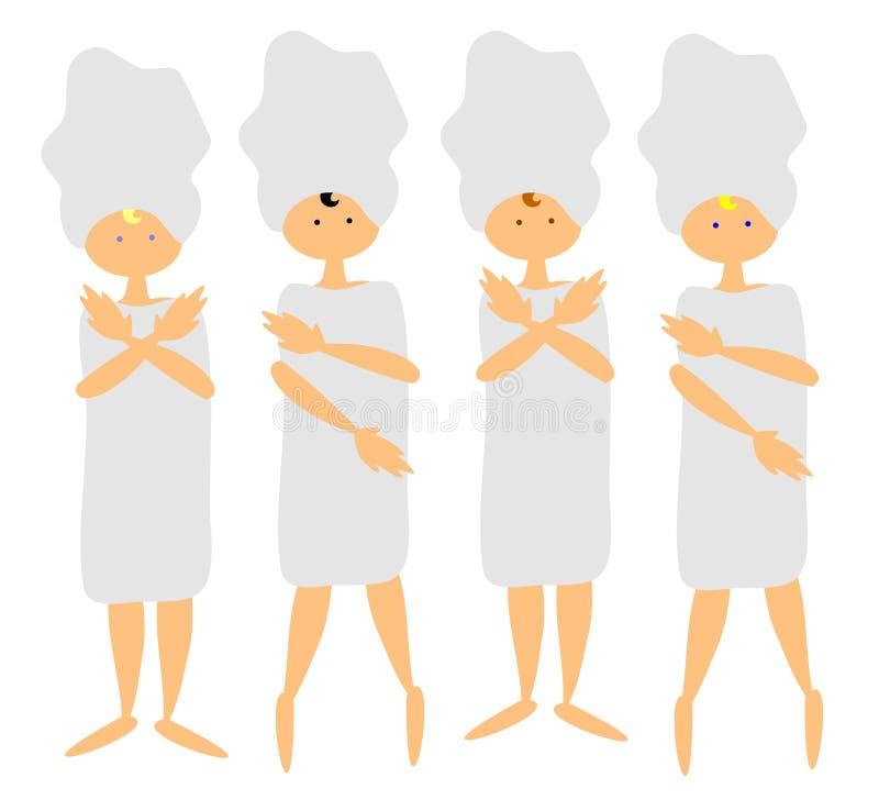 4 brunnsortkvinnor stock illustrationer
