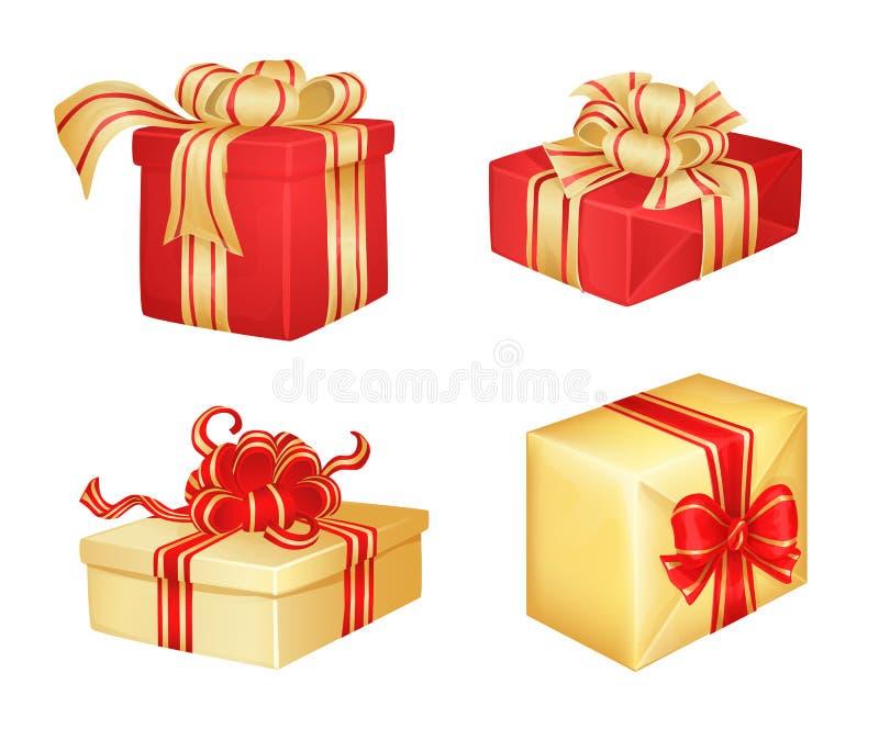 4 cadeaux de Noël illustration stock