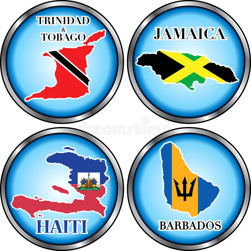 4 Caribbean Round Buttons Stock Photos