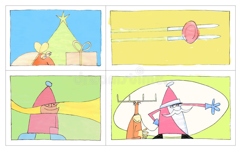 4 Cartoline Di Natale Immagine Stock Libera da Diritti