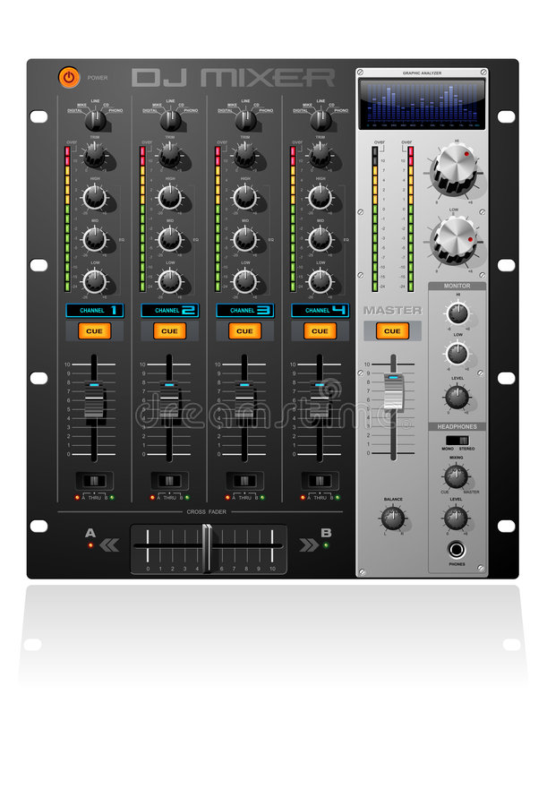 Download 4 channel mixer stock vector. Image of equalizer, equipment - 4743720
