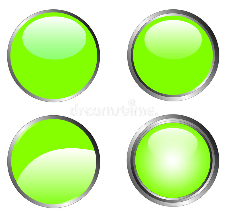 Download 4 Classy Green Buttons stock vector. Image of metallic - 2896380