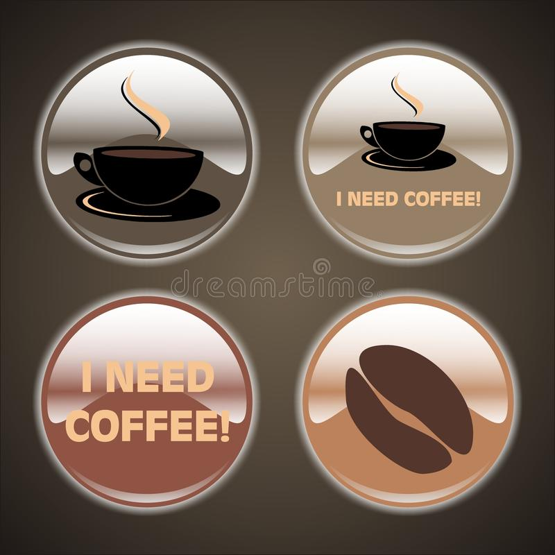 4 Coffee Buttons stock images