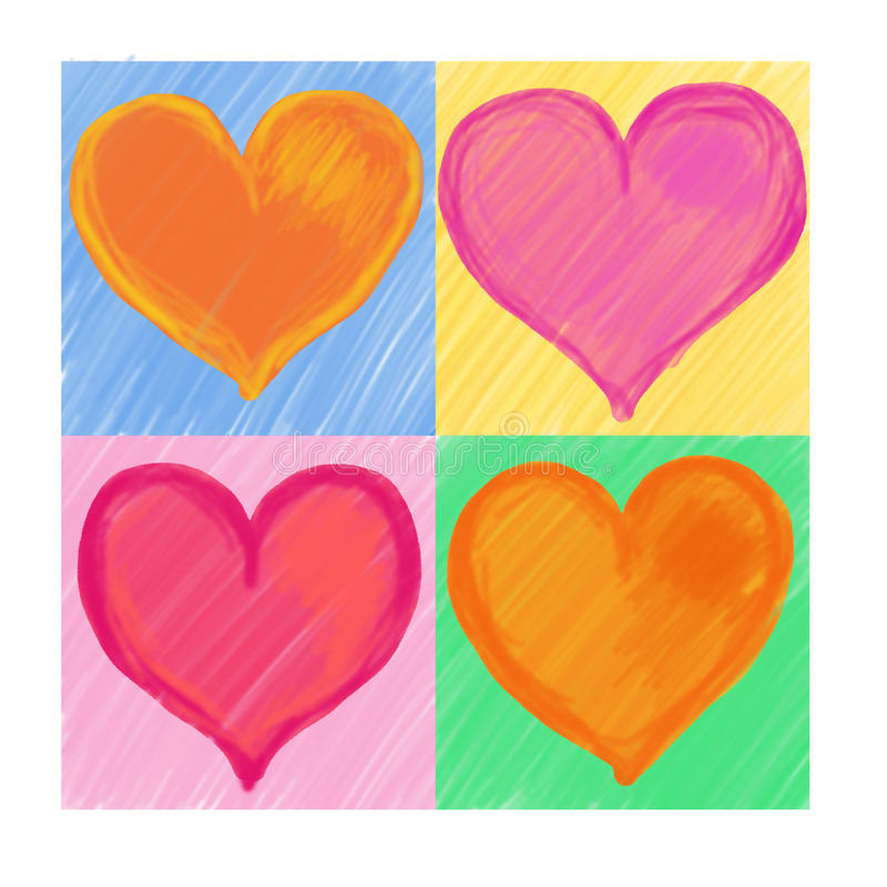 4 cuori di colore per il giorno del biglietto di s - Colore del giorno di san valentino ...