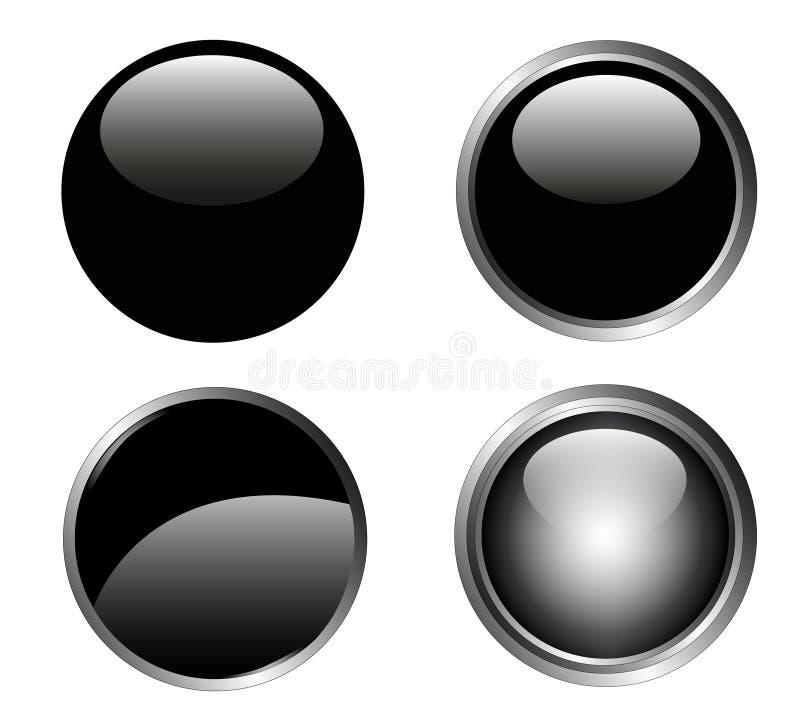 4 czarny guzik z klasą ilustracja wektor