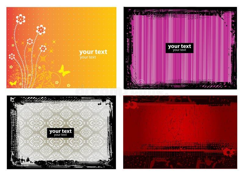 4 de BloemenAchtergrond van de Banner Grunge royalty-vrije illustratie