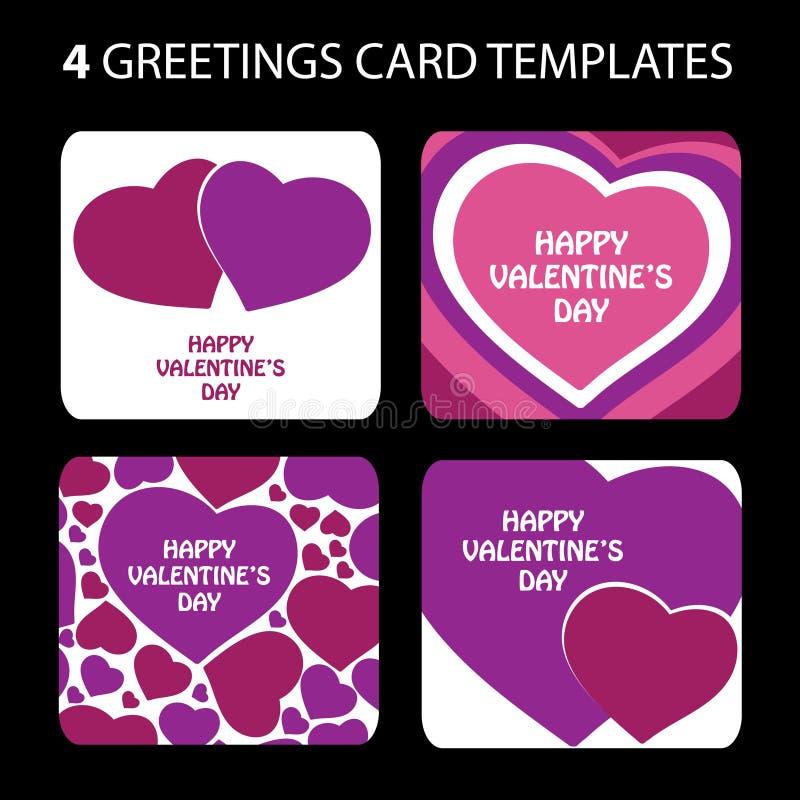 4 de Kaarten van de groet: De Dag van de valentijnskaart vector illustratie