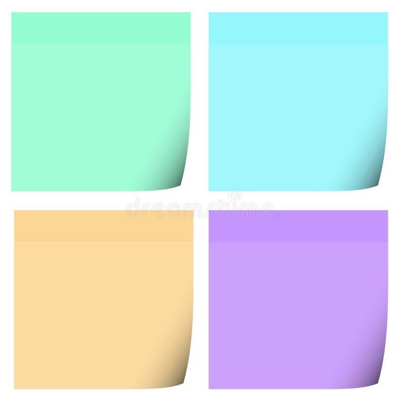 4 de Nota's van de post-it vector illustratie