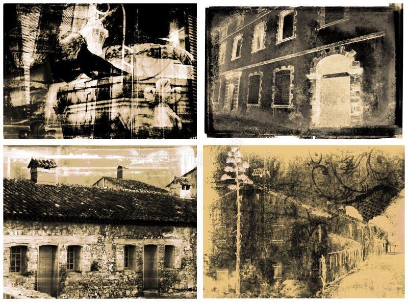 4 detailed vintage illustrations of buildings royalty free illustration