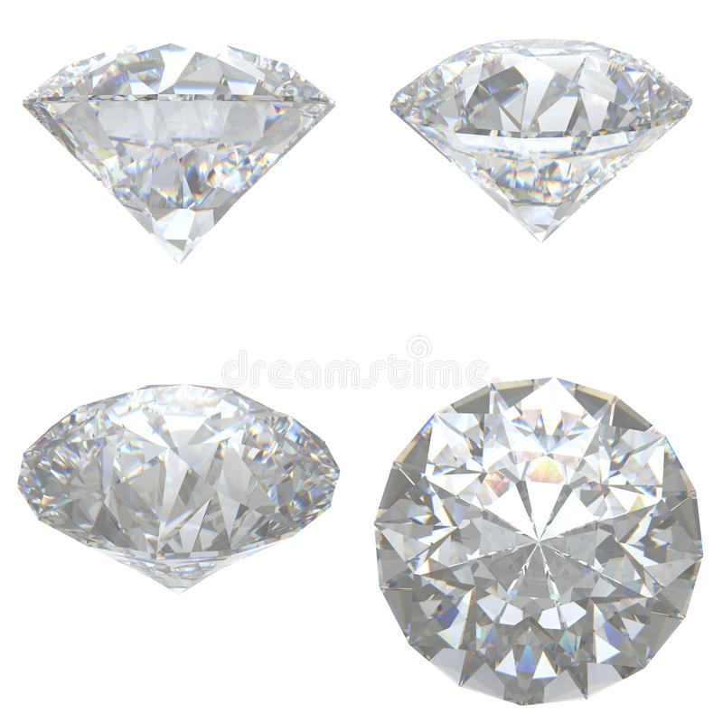 4 Diamonds Set On White Background Stock Image