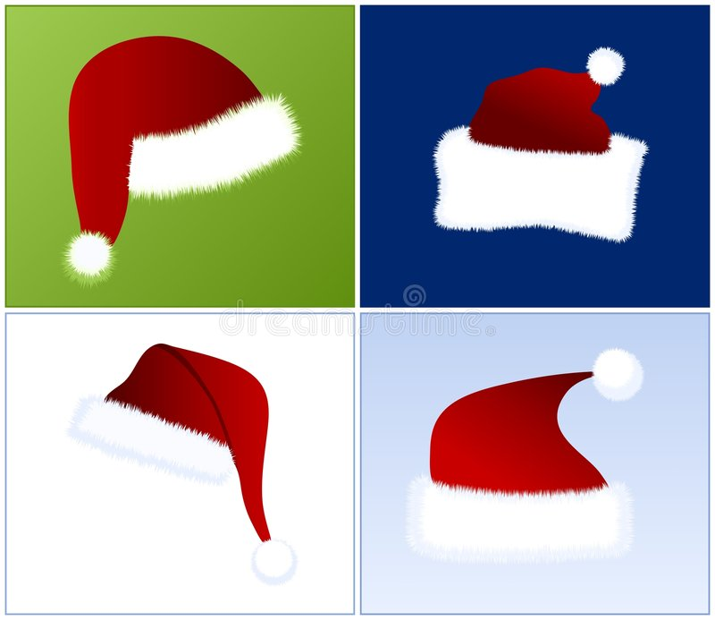 4 different Santa hats. 4 different views of Santa hats in 4 different colour combinations vector illustration