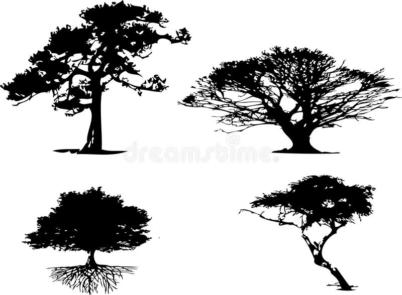 4 different types of tree silhouette vector illustration