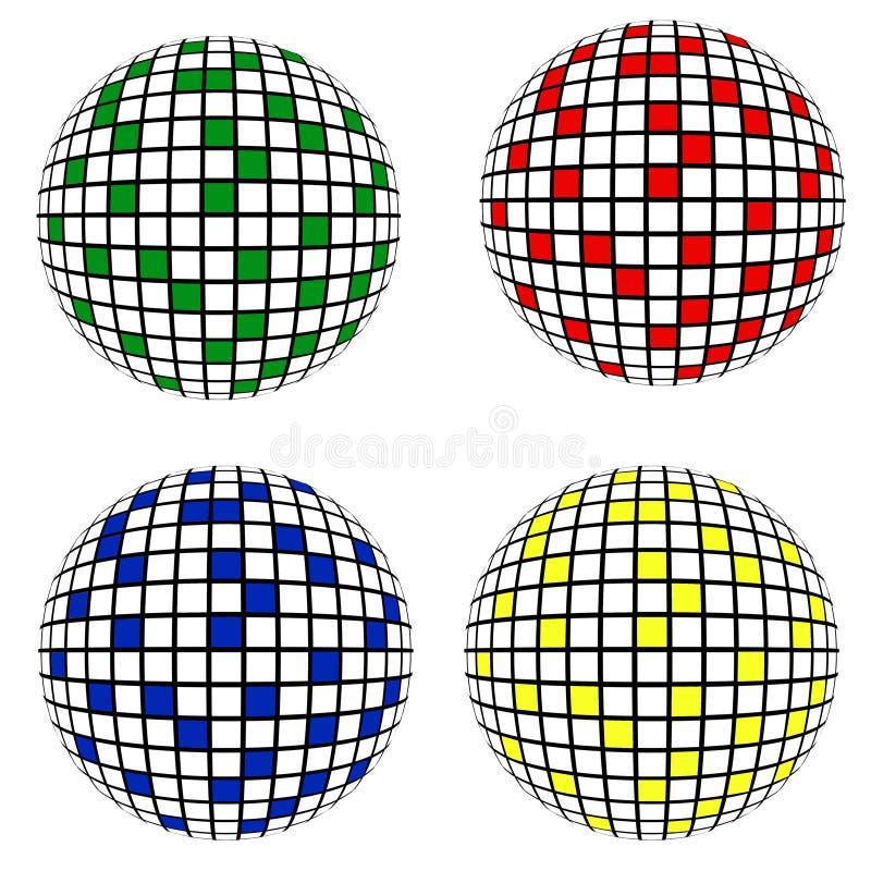 4 Disco Balls ,isolated Royalty Free Stock Photo