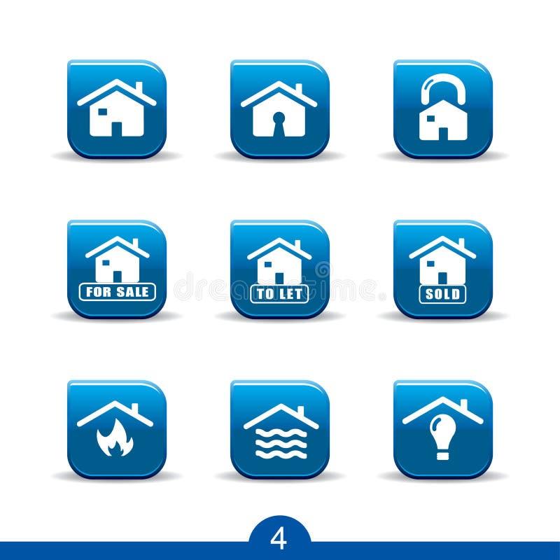 4 domowych ikon serii usługa gładkiej