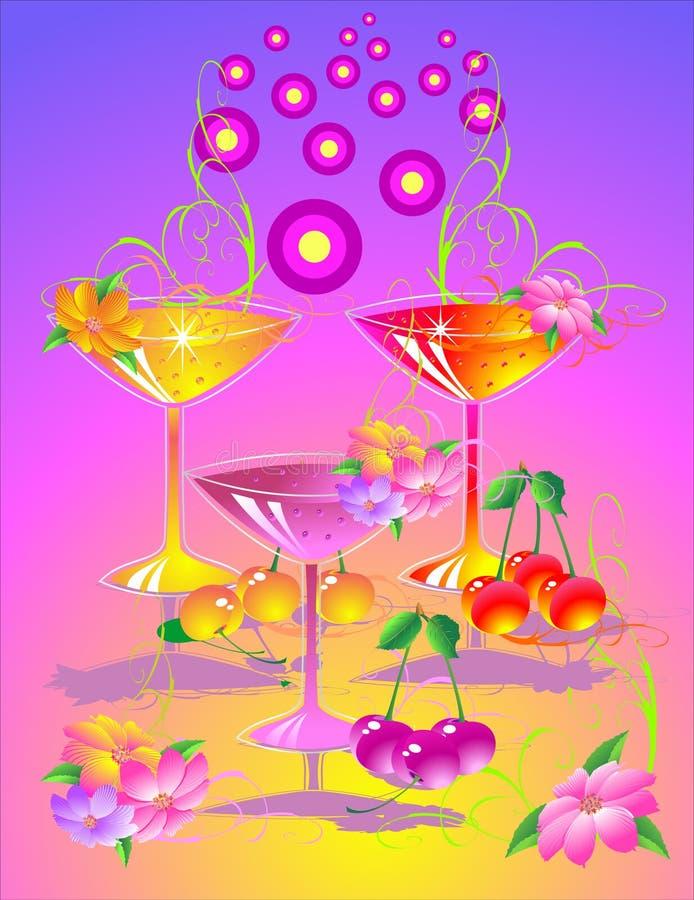 4 drinkar vektor illustrationer