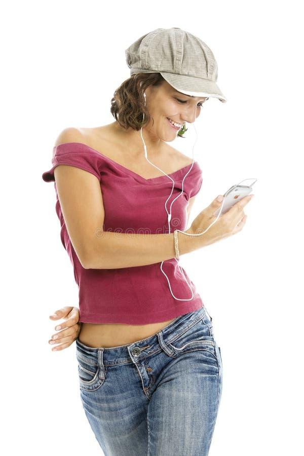 4 dziewczyn szczęśliwy trzymający iphone biały fotografia royalty free
